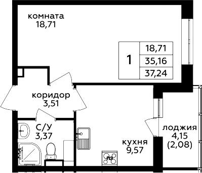 1-комнатная, 37.24 м²– 2