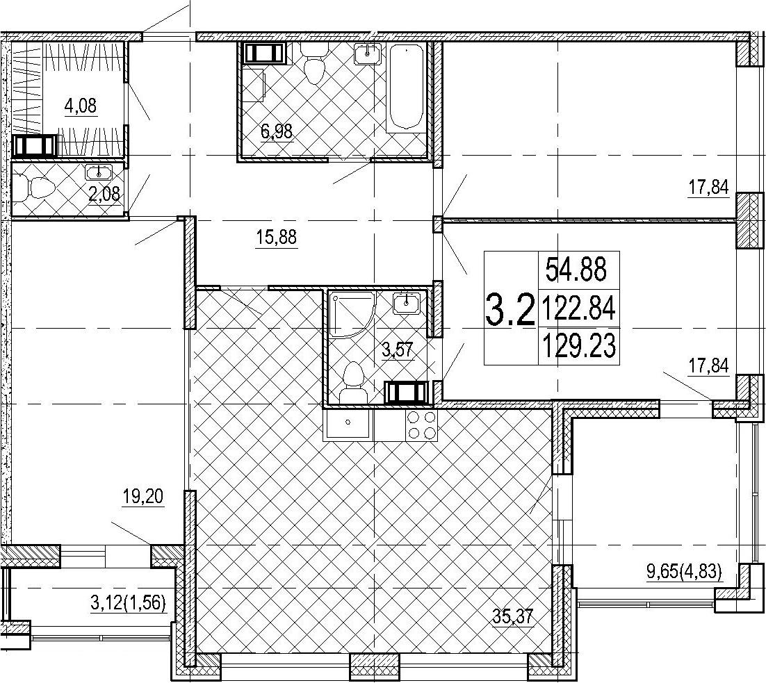 4Е-комнатная, 129.23 м²– 2