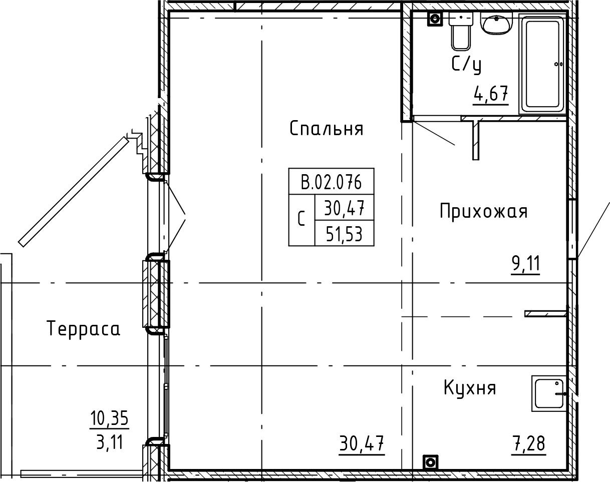 Студия, 61.9 м²