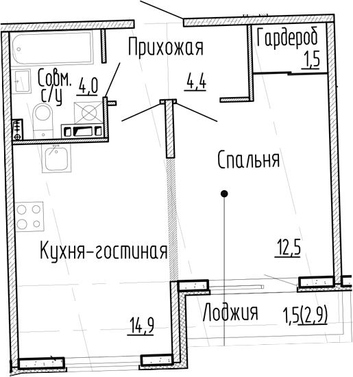 1-комнатная квартира, 37.3 м², 2 этаж – Планировка