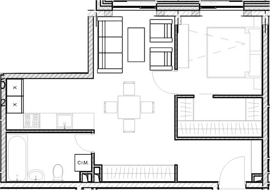 Своб. план., 45.8 м²