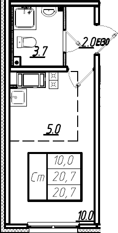 Студия, 20.7 м²– 2