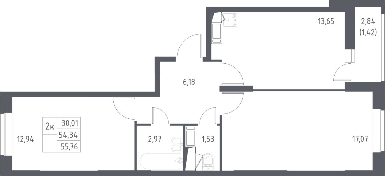2-комнатная, 55.76 м²– 2