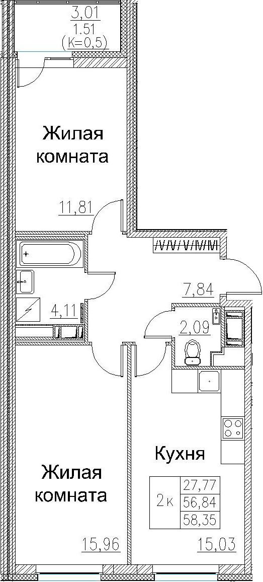 2-к.кв, 58.35 м²