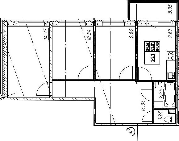 3-к.кв, 67.16 м²