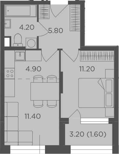 2Е-к.кв, 39.1 м²