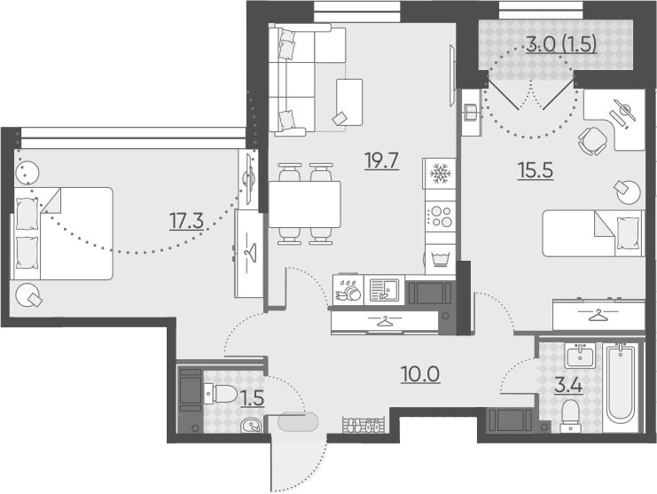 3Е-к.кв, 68.9 м², 13 этаж