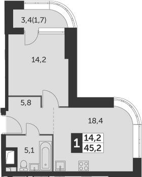 1-к.кв, 45.2 м², 2 этаж