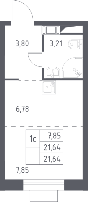 Студия, 21.64 м²– 2