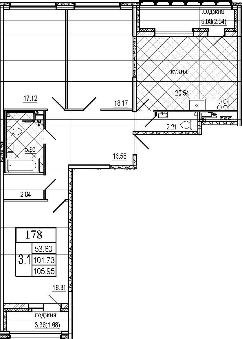 4Е-к.кв, 105.95 м², 5 этаж
