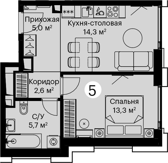 1-к.кв, 40.9 м²