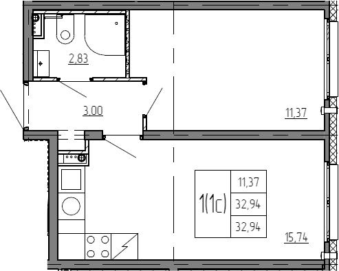 2Е-к.кв, 32.94 м²
