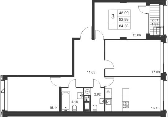 3-комнатная, 84.3 м²– 2