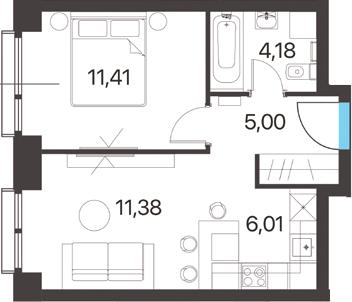 2Е-к.кв, 37.98 м², 8 этаж