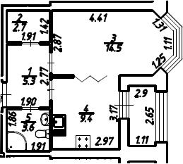 1-к.кв, 36.88 м², 2 этаж