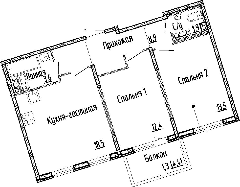 3Е-комнатная, 58.8 м²– 2