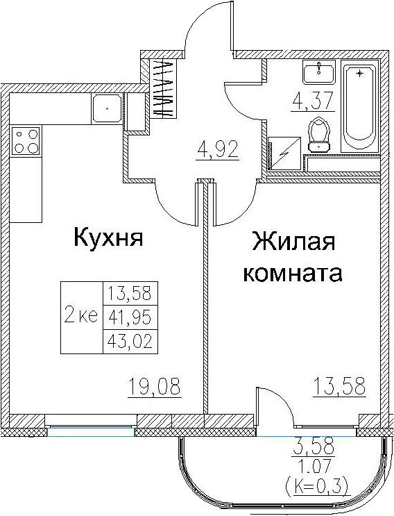 2-к.кв (евро), 45.52 м²