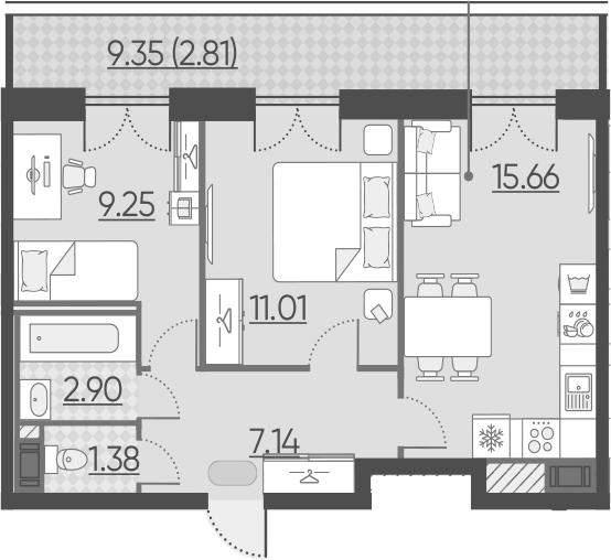 2-к.кв, 50.15 м²