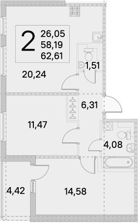 3Е-комнатная, 62.61 м²– 2
