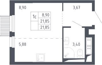 Студия, 21.85 м²– 2