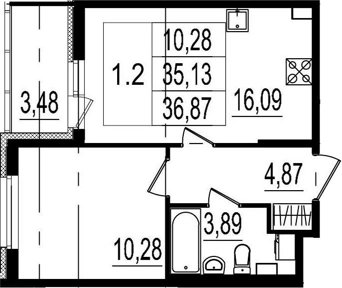 2Е-комнатная, 35.13 м²– 2
