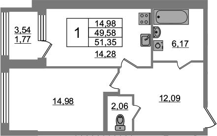 1-к.кв, 49.58 м²