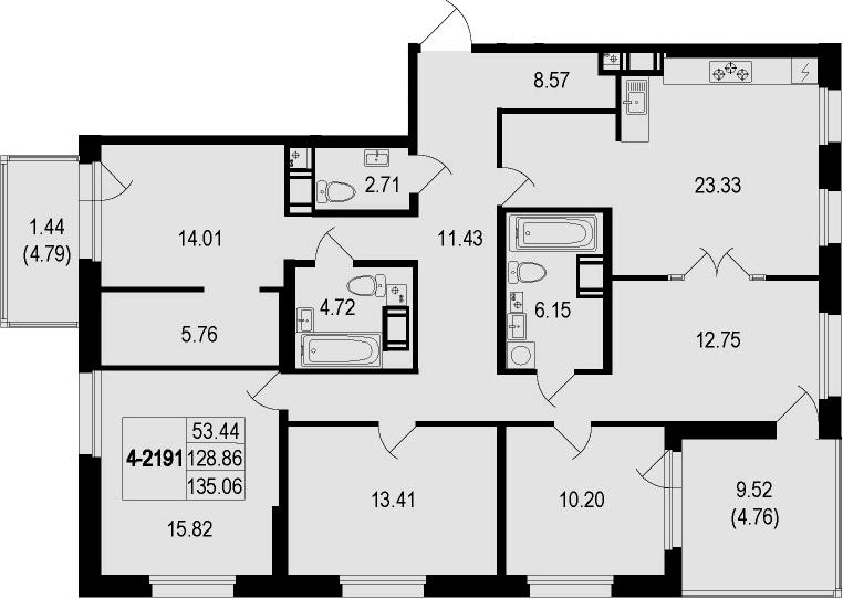 5Е-комнатная квартира, 135.06 м², 9 этаж – Планировка