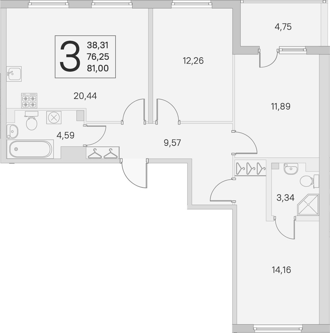 4Е-комнатная, 76.25 м²– 2