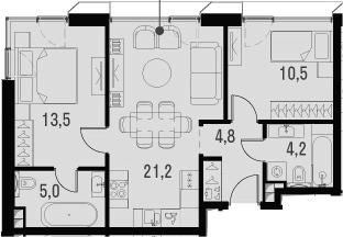 3Е-комнатная, 59.2 м²– 2