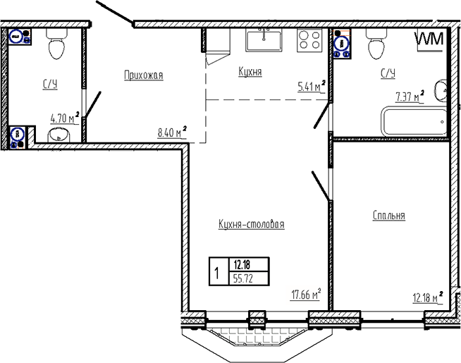 2Е-к.кв, 55.72 м²