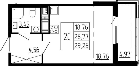 Студия, 26.77 м²– 2