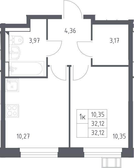 1-к.кв, 32.12 м²