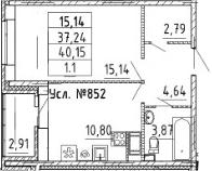 1-к.кв, 40.15 м²