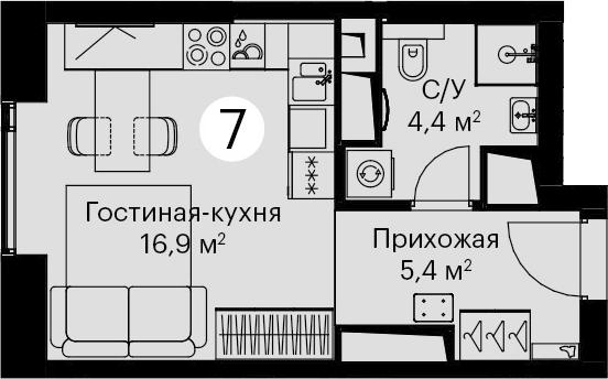 Студия, 26.7 м²