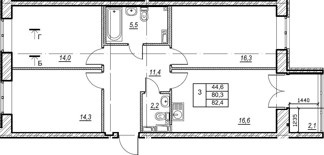 3-к.кв, 82.4 м², 7 этаж
