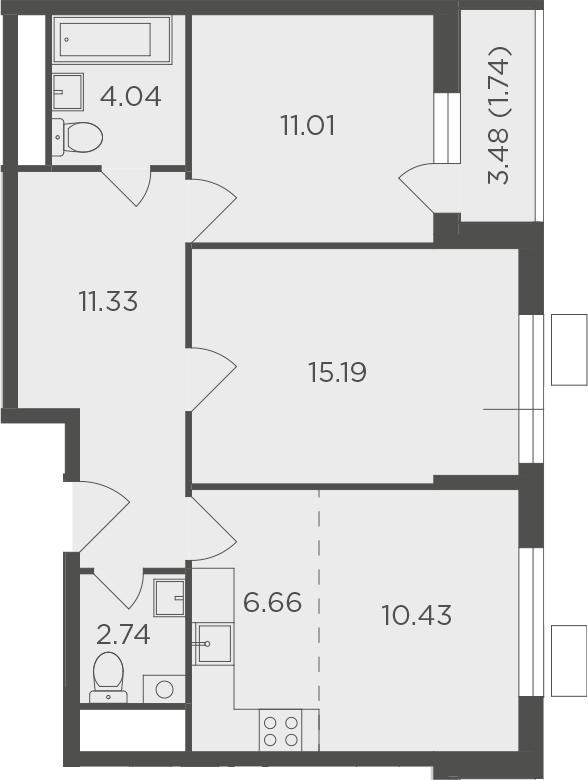 3Е-комнатная, 63.14 м²– 2