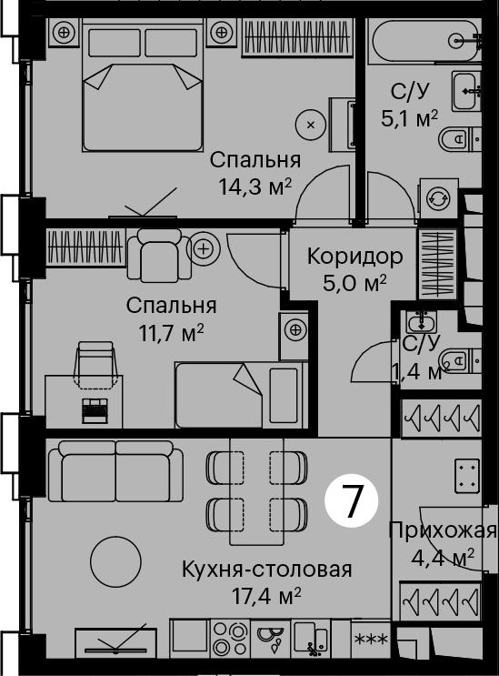 3Е-комнатная, 59.3 м²– 2