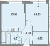 2-к.кв (евро), 44.16 м²