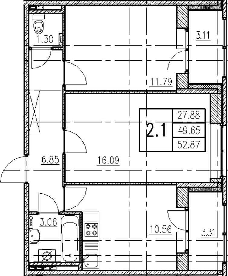 2-комнатная, 49.65 м²– 2