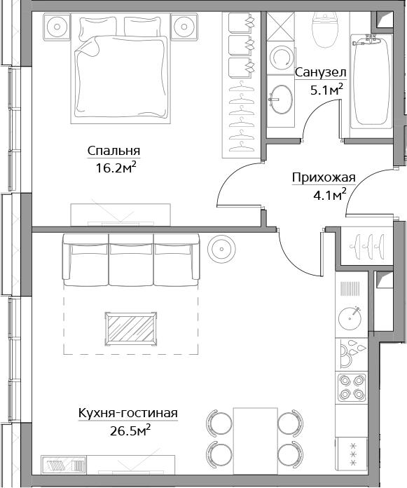 2-к.кв (евро), 51.9 м²