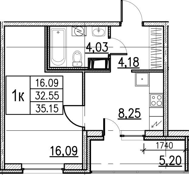1-комнатная, 35.15 м²– 2