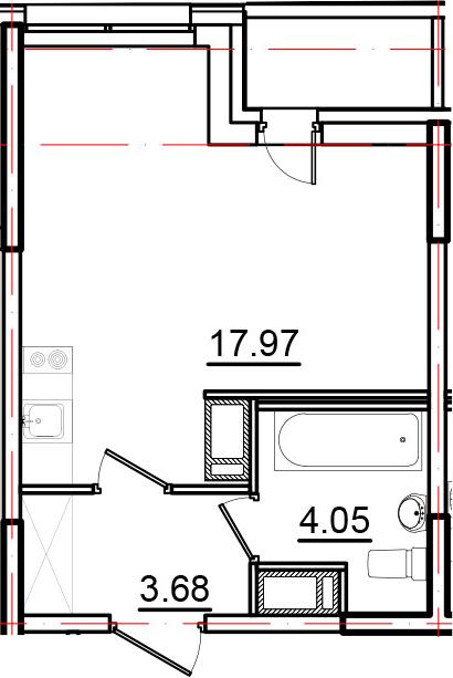 Студия, 26.74 м², 10 этаж