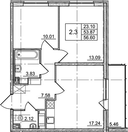 3Е-комнатная, 53.87 м²– 2
