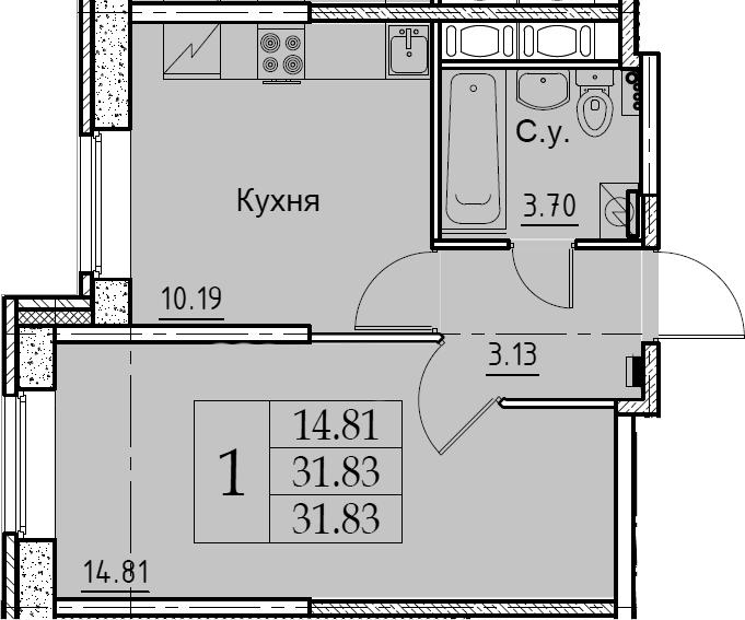 1-комнатная, 31.83 м²– 2