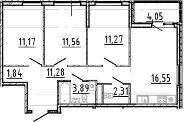4Е-комнатная, 69.87 м²– 2