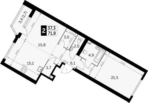 2-комнатная, 71.8 м²– 2