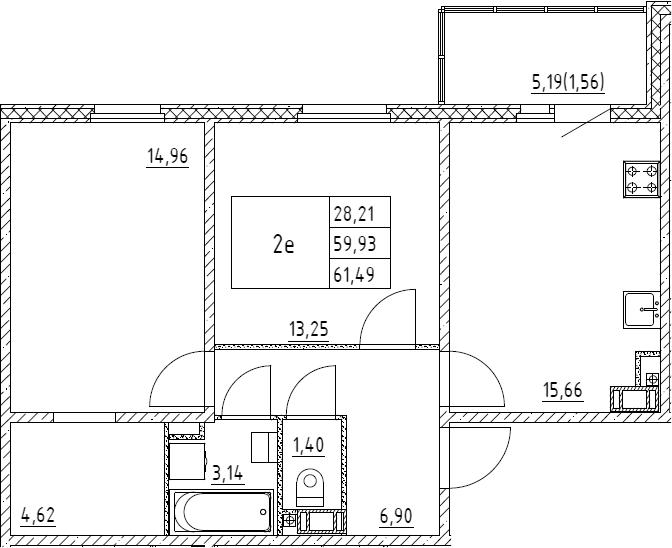 3Е-к.кв, 61.49 м², от 3 этажа