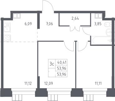3Е-к.кв, 53.96 м², 15 этаж