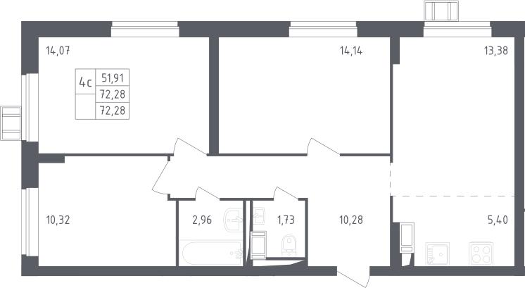 4Е-комнатная, 72.28 м²– 2