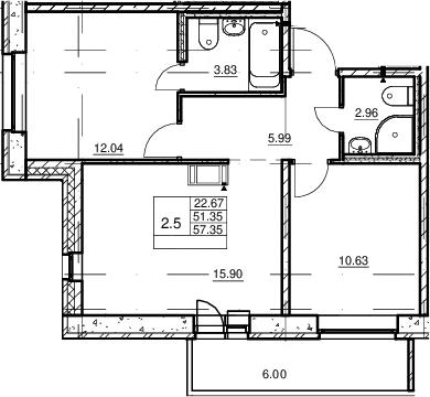 3Е-к.кв, 51.35 м²